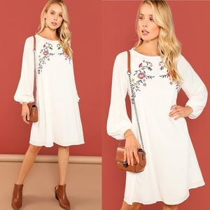 Shein Bishop Sleeved Embroidered Trapeze Dress